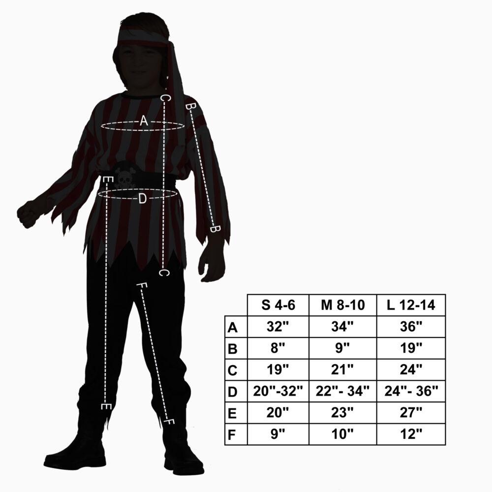 Pirate size chart
